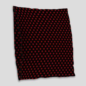 Red Stars Burlap Throw Pillow
