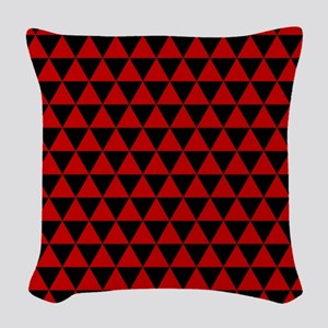 Red Triangles Woven Throw Pillow