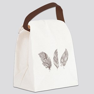 Indian Feather Canvas Lunch Bag