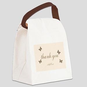 Pretty Thank You Cream Gold Butterflies Canvas Lun