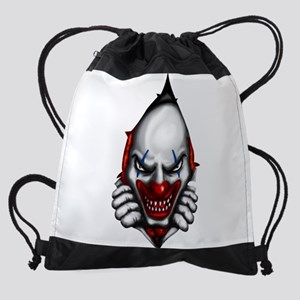 scary clown inside Drawstring Bag
