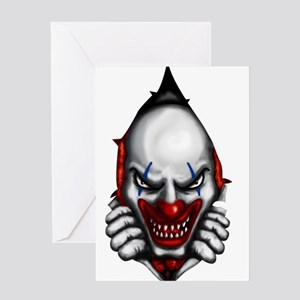 scary clown inside Greeting Cards