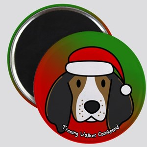 Cartoon Treeing Walker Coonhound Christmas Magnet