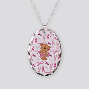 Breast Cancer Awareness Bear Necklace Oval Charm