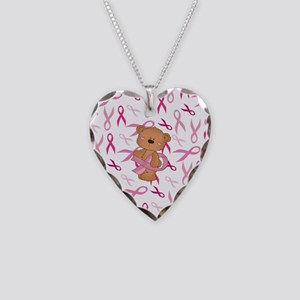 Breast Cancer Awareness Bear Necklace Heart Charm
