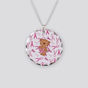 Breast Cancer Awareness Bear Necklace Circle Charm