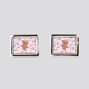 Breast Cancer Awareness Bear Rectangular Cufflinks