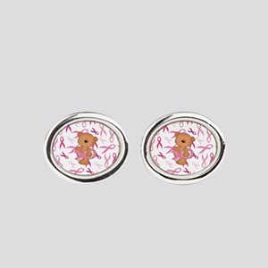 Breast Cancer Awareness Bear Oval Cufflinks