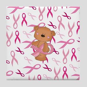 Breast Cancer Awareness Bear Tile Coaster