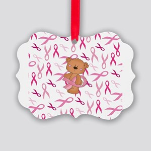 Breast Cancer Awareness Bear Picture Ornament