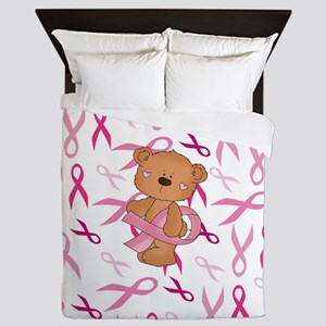 Breast Cancer Awareness Bear Queen Duvet