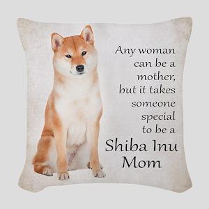 Shiba Inu Mom Woven Throw Pillow