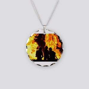 Three firemen Necklace Circle Charm