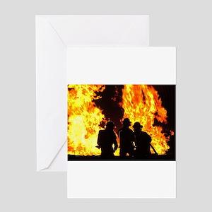 Three firemen Greeting Cards