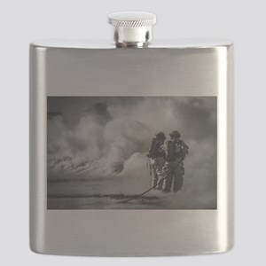 Firefighters (Black and White) Flask