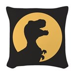 T Rex Howling Woven Throw Pillow