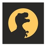 T Rex Howling Square Car Magnet 3