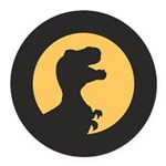 T Rex Howling Round Car Magnet