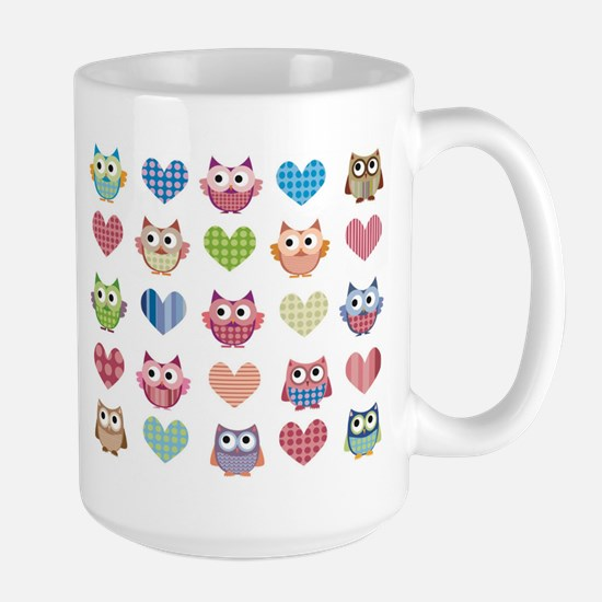 Owls hearts multi color Mugs