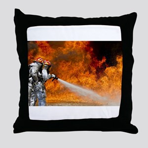 Firefighters in Action Throw Pillow