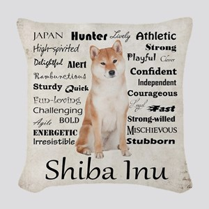 Shiba Inu Traits Woven Throw Pillow