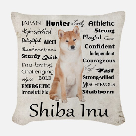 Shiba Inu Traits Woven Throw Pillow