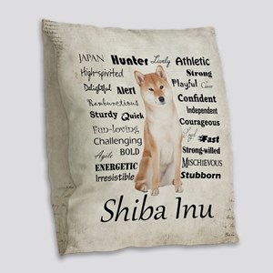 Shiba Inu Traits Burlap Throw Pillow