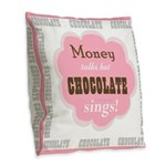 Chocolate Sings Chocolate Text Burlap Throw Pillow