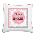 Chocolate Sings Text Sq Square Canvas Pillow
