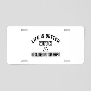 Critical Care Respiratory T Aluminum License Plate