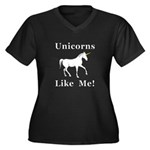 Unicorns Lik Women's Plus Size V-Neck Dark T-Shirt