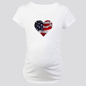 PATRIOTIC - US flag in heart sha Maternity T-Shirt