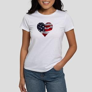 PATRIOTIC - US flag in heart shape T-Shirt