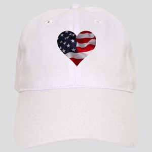 PATRIOTIC - US flag in heart shape Cap
