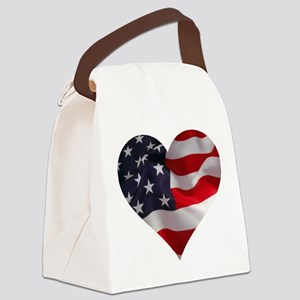 PATRIOTIC - US flag in heart shap Canvas Lunch Bag