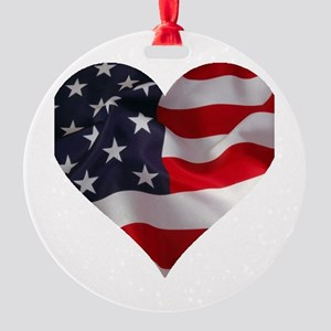 PATRIOTIC - US flag in heart shape Round Ornament