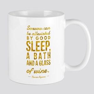 Sleep Bath Glass of Wine Aquinas Motivational Mugs