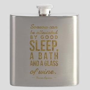 Sleep Bath Glass of Wine Aquinas Motivationa Flask