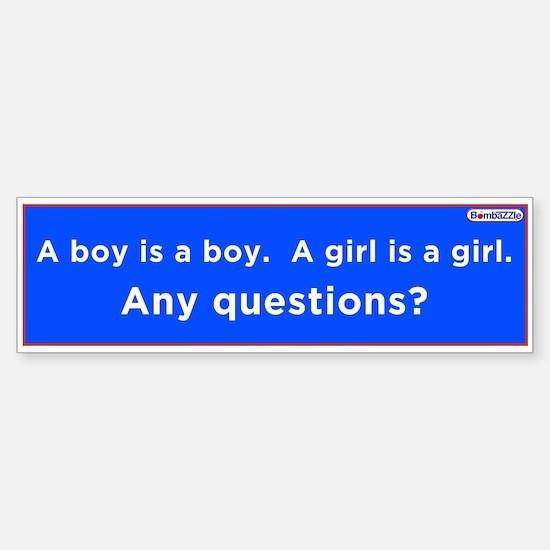 A Boy Is A Boy -A Girl Is A Girl / Lbumper Bumper Bumper Sticker