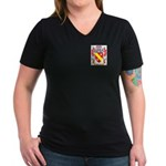 Perrelli Women's V-Neck Dark T-Shirt