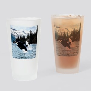 Leaping Killer Whales Drinking Glass