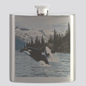 Leaping Killer Whales Flask