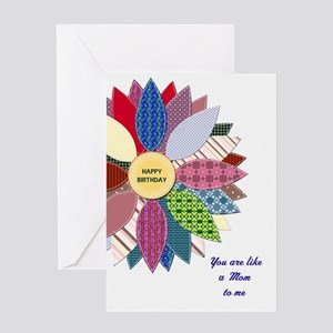 Like a mom to me, stitched flower Greeting Cards