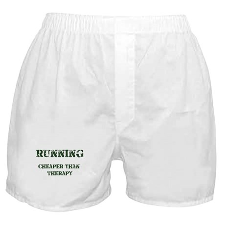 Running: Cheaper Than Therapy Boxer Shorts