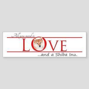 Shiba Inu Love Bumper Sticker