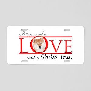 Shiba Inu Love Aluminum License Plate
