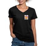 Perillo Women's V-Neck Dark T-Shirt