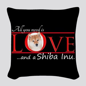 Shiba Inu Love Woven Throw Pillow