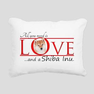 Shiba Inu Love Rectangular Canvas Pillow
