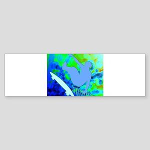 Airborne Skateboarder Blue and Gree Bumper Sticker